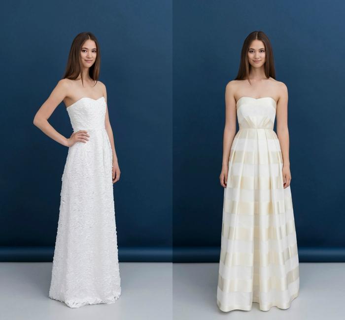 vestidos de novia modernos, ideas de vestidos de silueta simple, vestido en blanco de encaje con escote semicorazón y otro vestido en blanco y dorado