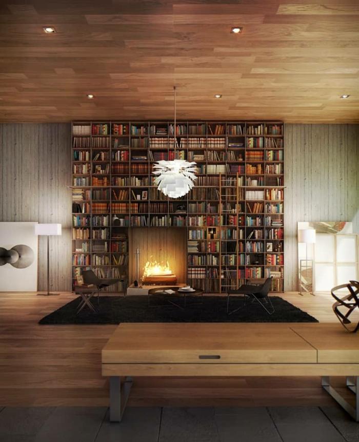estanterias originales, salón grande con techo alto de madera, librería de suelo a techo, chimenea con fuego, alfombra peluda, sillas, luces empotradas. lámpara blanca