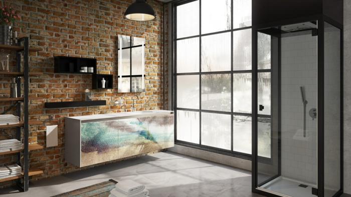 muebles auxiliares, decoraci'on de ba;os en estilo moerno, pared con ladrillo visto, mueble lavabo grande en diferentes colores, toque industrial, ventana grande, cabina de ducha