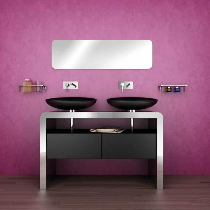 estilo original en la decoraci'on de ba;os, propuesta con pared en ciclamen, lavabo doble negro, muebles auxiliares de ba;o con metal y madera