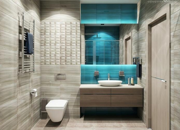 decoración baños pequeños, muebles auxiliares, ducha de obra, beige y azul, suelo y paredes de baldosas, mueble de lavabo de madera