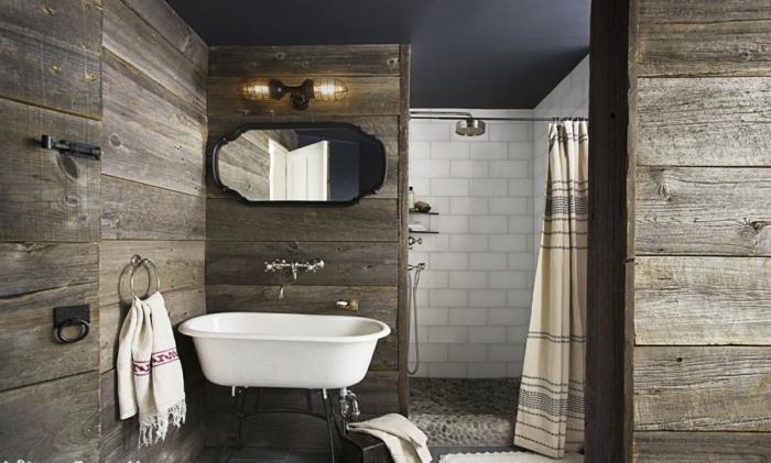 mueble lavabo, baño rústico con paredes de madera, ducha de obra con cortina, espejo, lavabo grande de porcelana