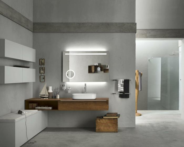 baño gris, muebles auxiliares de baño, mueble de lavabo de madera, espejo iluminado por detrás, ducha de obra efecto lluvia