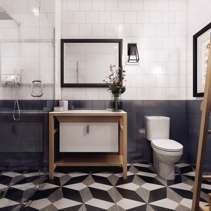 decoración geométrica, estilo minimalista, ducha de obra, mñampara de vidrio, mueble baño de madera y plástico, espejo con marco negro