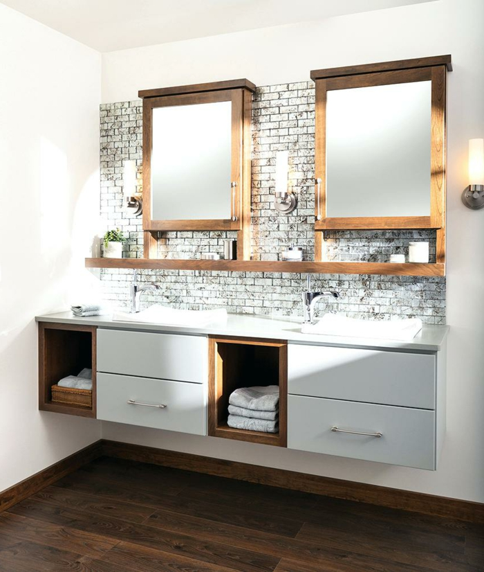 mueble bañomueble baño, baño con lavabo doble, armarios de madera con puertas de espjo, mueble lavabo con cajones, imitación ladrillo visto