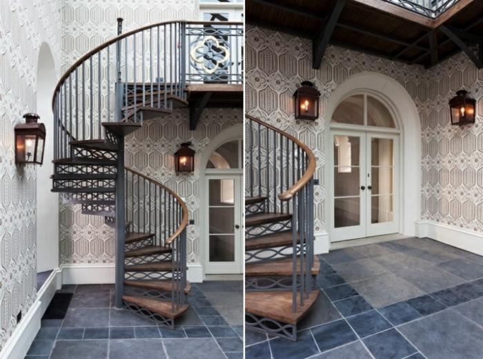 escaleras modernas, patio interno con baldosas y linternas, escaleras de caracol con barandilla de metal y madera, entrada con arco