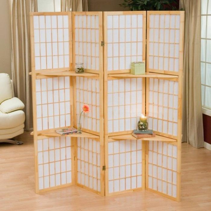 biombos ikea, idea atractiva para separar espacios, separador de ambientes de madera con estantes