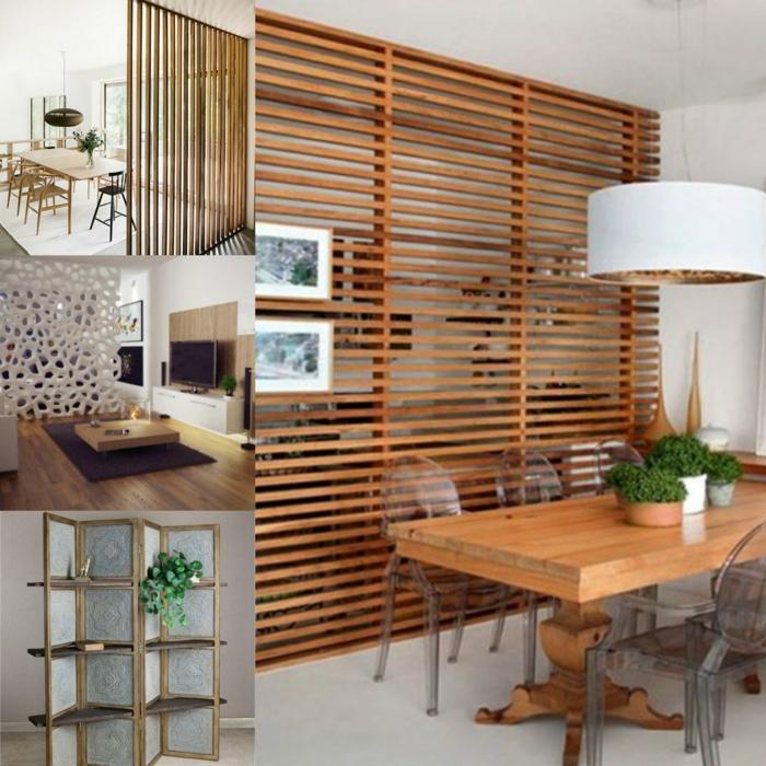 biombos ikea, diferentes variantes de separadores de ambientes de madera, salones y comedores en estilo moderno minimalista