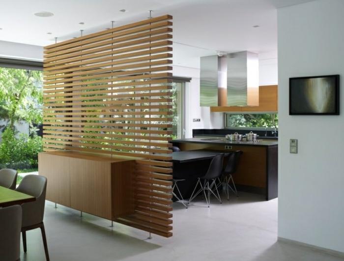 separador de ambientes, divisor de habitaciones de madera colgante, armario empotrado, comedor con cocina