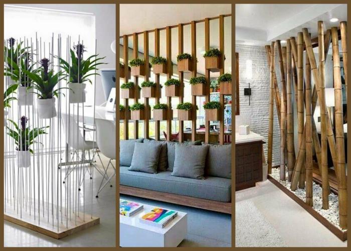 biombos separadores, tres propuestas de separadores de ambientes con macetas con plantas verdes, divisores de madera