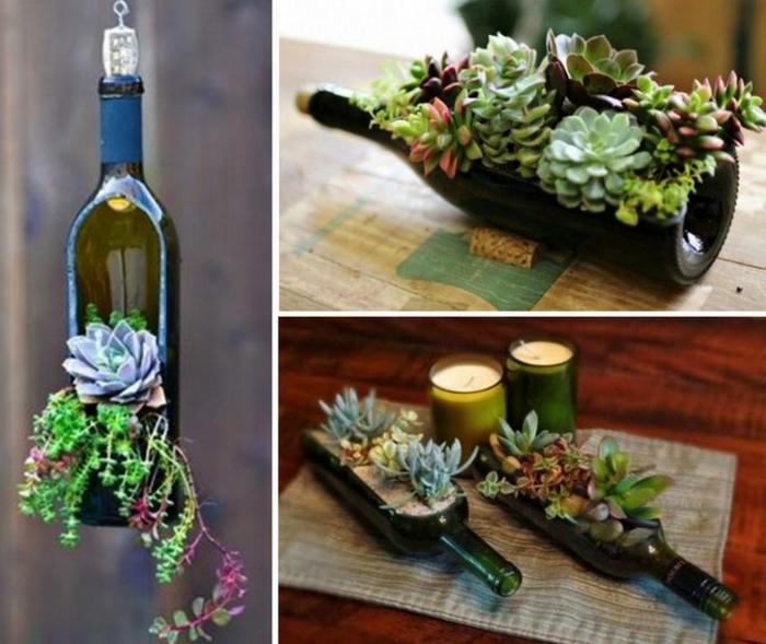 preciosa jardinera colgante, ideas con botellas de vino,manualidades recicladas para decorar el hogar, centro de mesa original