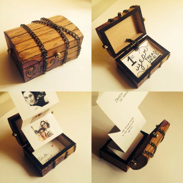 que regalar a tu novio, cofre de tesoro lleno con fotos plegables, regalo romántico san valentin, caja de madera, cartón