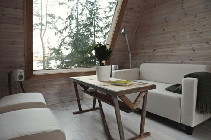 mini casas sobre ruedas, diseño simple de una micro vivienda, decoración en blanco y muebles de madera, techo inclinado