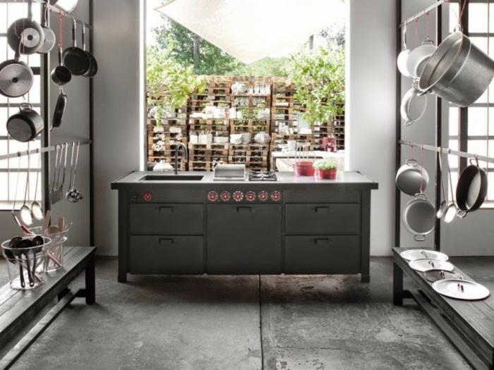 cocina espaciosa de diseño moderno, ideas para amueblar una cocina moderna en estilo industrial, armario en gris con lavabo empotrado