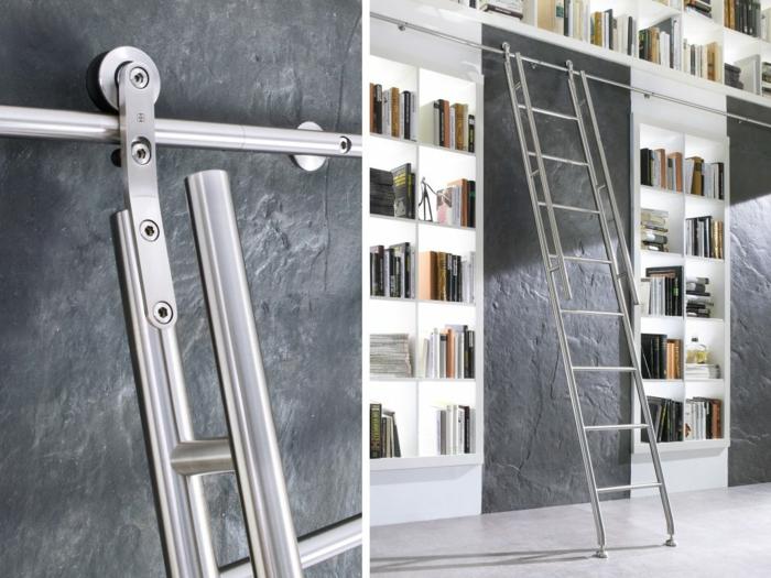 estanteria escalera, biblioteca alta de madera blanca, escalera corrediza de metal, pared gris oscuro, ideas de estanterías