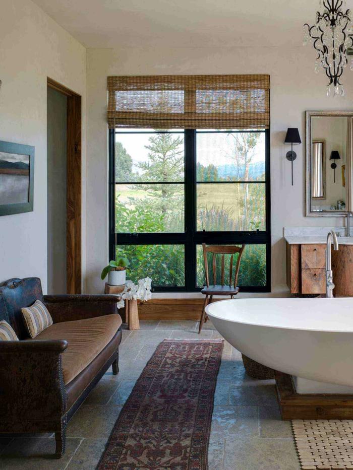 pasos para amueblar un baño rustico con elementos modernos, estanterias para baños de madera