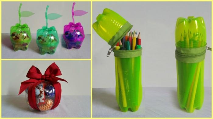 portalapices funcionales hechos de botellas de plástico recicladas, manualidades con botellas de plastico útiles y fáciles de hacer