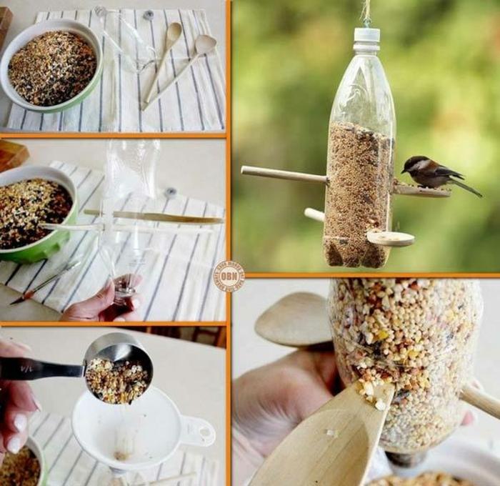 como reciclar una botella de plástico de manera útil, comedero para pájaros DIY paso a paso, manualidades con botellas de plastico originales