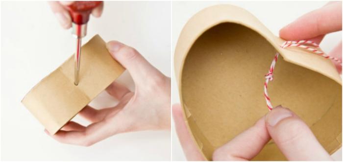 cajita de carton para regalos, forma corazón, tutorial para convertirla en piñata, regalos originales para novios, cómo meter un hilo