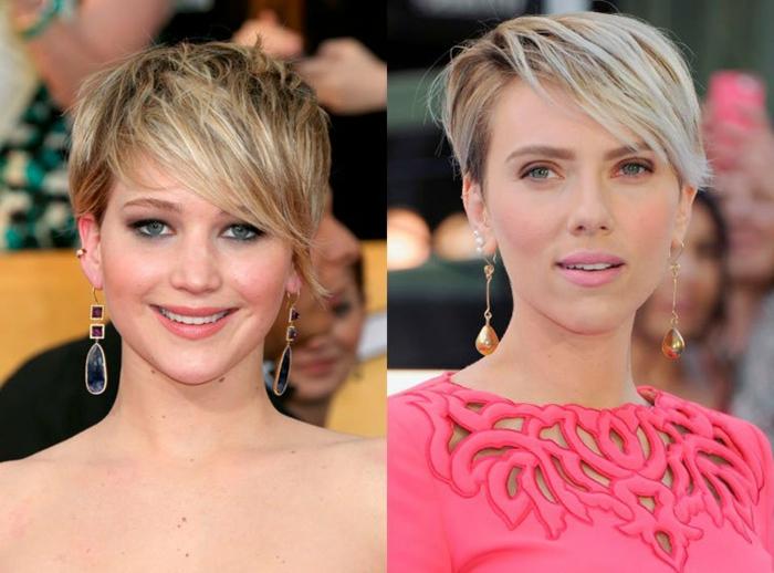 cortes de pelo corto mujer, dos propuestas de cortos de pelo muy corto con largo flequillo peinado a un lado, cabello rubio liso