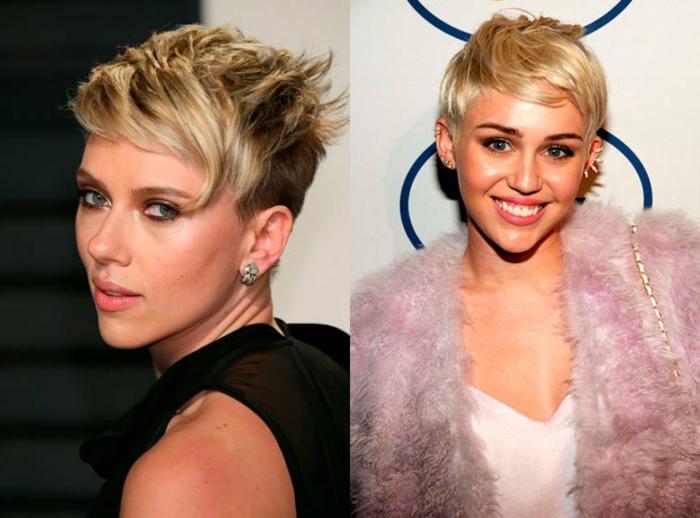 cortes de pelo corto mujer, cortos de pelo modernos y originales, cabello muy corto, dos propuestas con pelo rubio