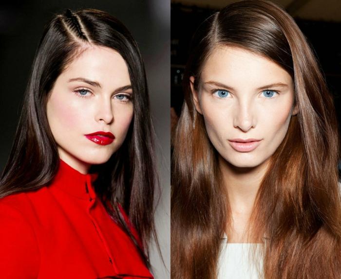cortes de pelo largo, dos propuestas de cortes de pelo modernos, pelo largo dividido a un lado, cabellos castaños lisos