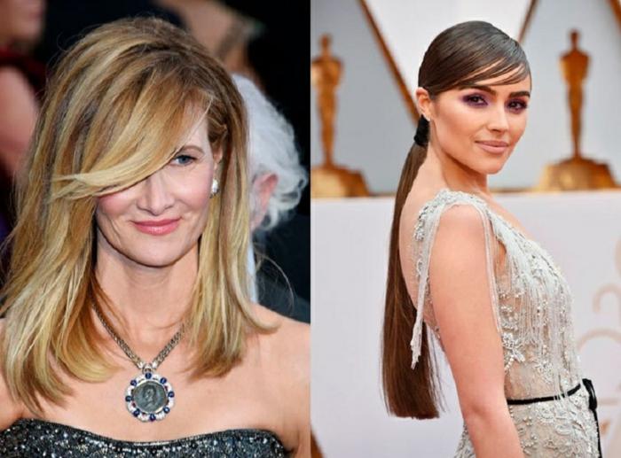 cortes de pelo media melena 2018, dos ejemplos de pelo largo peinado a un lado, grande flequillo lateral