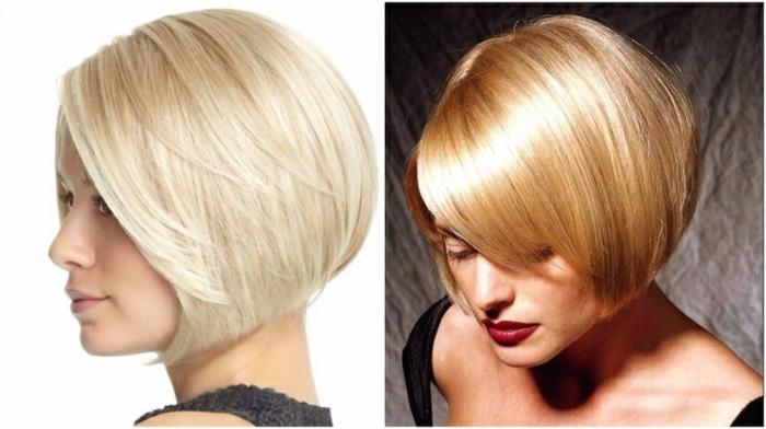 cortes de pelo corto mujer, dos peinados modernos, pelo rubio cortado en carre corto, longitud de cabello hasta la barbilla