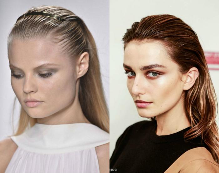 cortes de pelo media melena 2018, tendencia en los peinados 2018, pelo con efecto mojado, cabello liso peinado hacia atrás