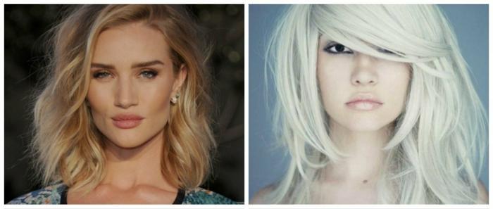 cortes de pelo mujer media melena, dos ejemplos de media melena rizadas, cabellos rubios con volumen, rizos románticos, pelo degradado