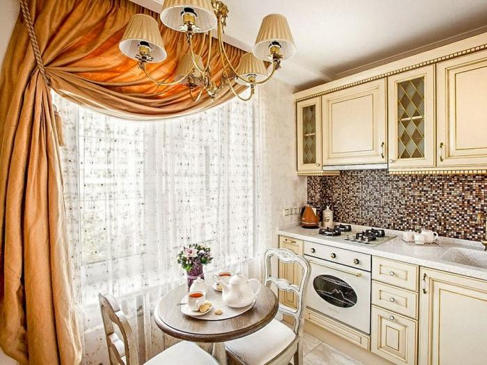 cortinas cocina, cocina en estilo provenzal con cortinas en anaranjado, tela gruesa con visillo de encaje