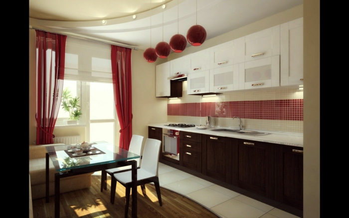 cortinas para cocina, cocina en estilo contemporáneo, lámparas colgantes en rojo y cortinas de visillo en el mismo color
