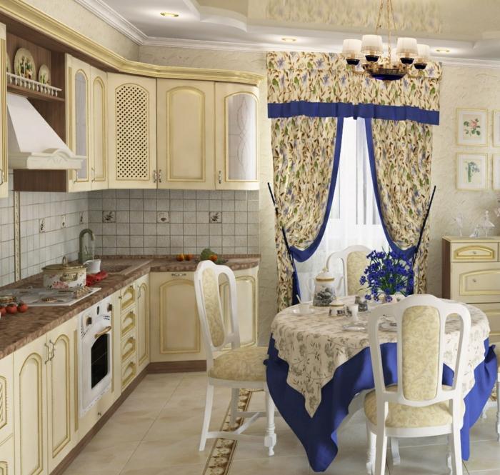 cortinas para cocina, preciosas cortinas en estilo provenzal en lila y blanco con ornamentos florales, muebles pintados en color champán