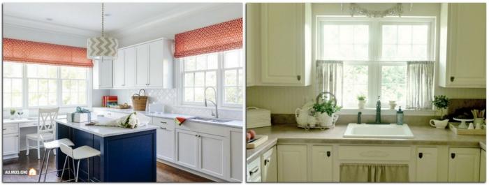cocinas modernas blancas, dos propuestas en colores claros con con cortinas de media ventana, grande barra en el centro de la cocina