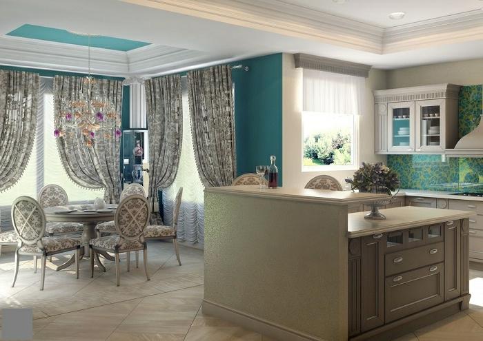 estores para cocina, estores para cocina, cortinas elegantes en gris con estampados de flores, comedor moderno, sillas tapizadas con el mismo patron