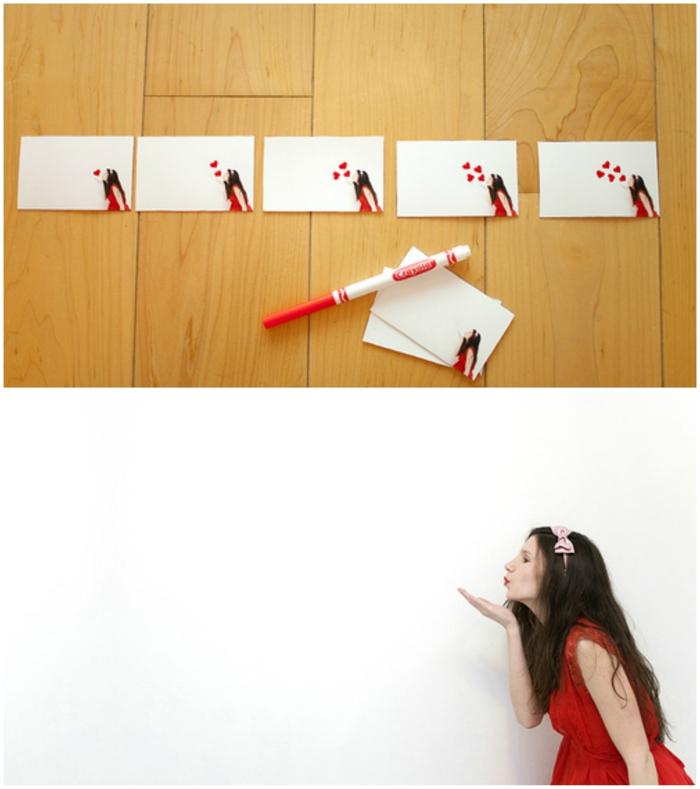 idea de regalo romántico, que le puedo regalar a mi novio, papeles con foto de color imprimida y beso con corazones, papel y marcador rojo