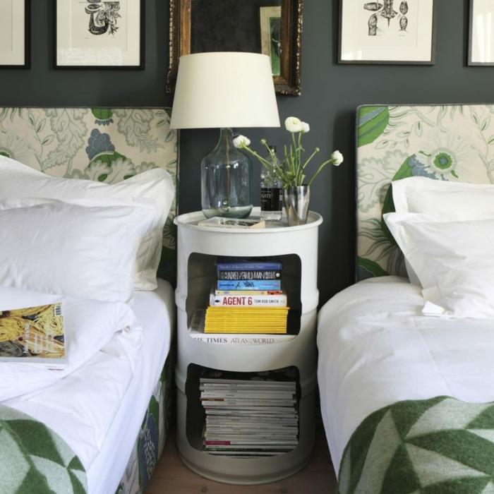 ejemplos de ambientes decorados con cuadros decorativos, dos camas individuales con estampados con motivos botánicos