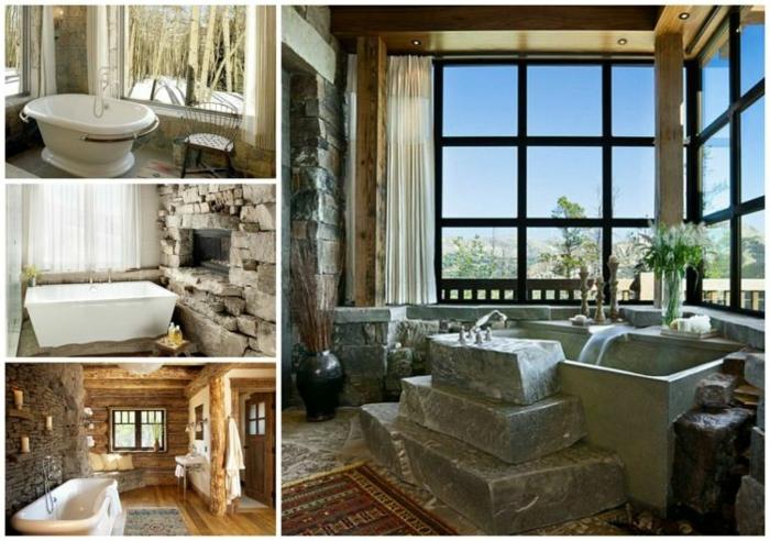 ideas para baño rustico, estanterias para baños y bañera exentas vintage, muebles y objetos de piedra y de madera