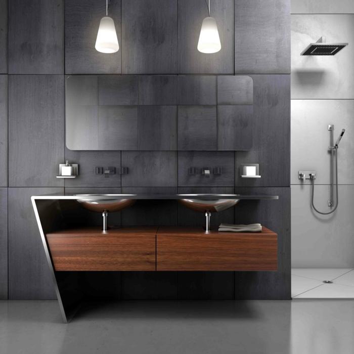 estilo industrial moderno, muebles baño, mueble de lavabo de madera y metal, lavabo doble, lámparas colgantes, ducha de obra, color gris