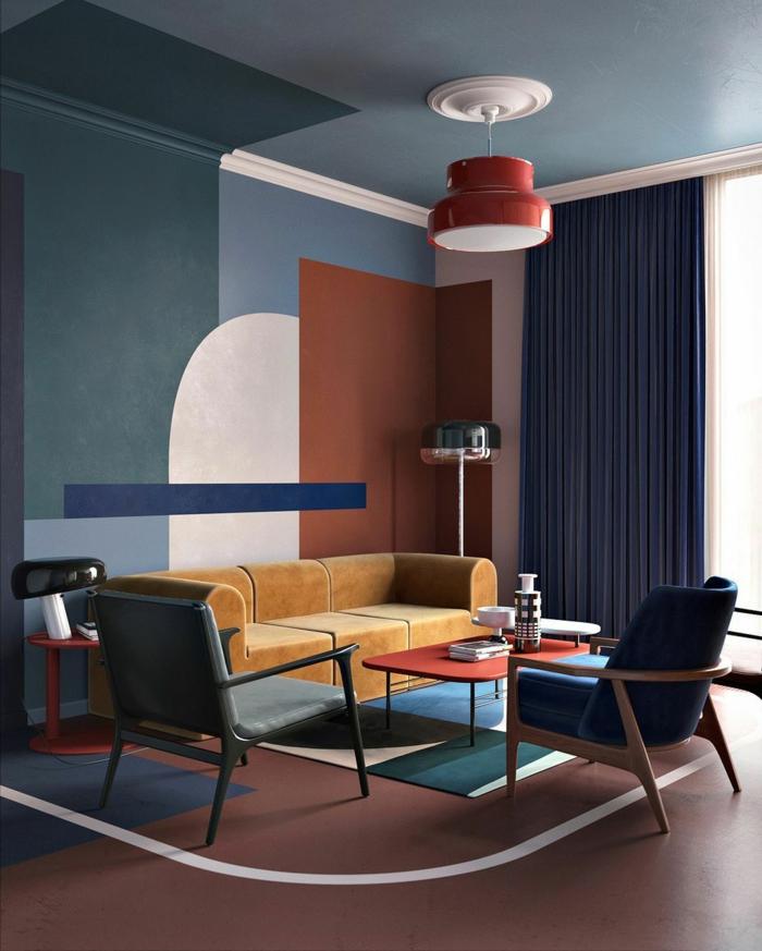salon en estilo vintage, colores para salones, paredes con figuras en color teja, rosado y azul, lámpara roja, cortinas masivas, suelo con alfombra