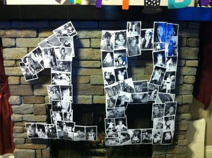 decoracion con fotos, decoración original para un cumpleaños, fotos familiares pequeñas en blanco y negro ordenadas en la forma de la cifra 18