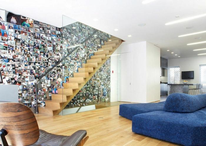 marcos de fotos originales, precioso salón en estilo moderno con escaleras, grande pared con muchas fotos en colores