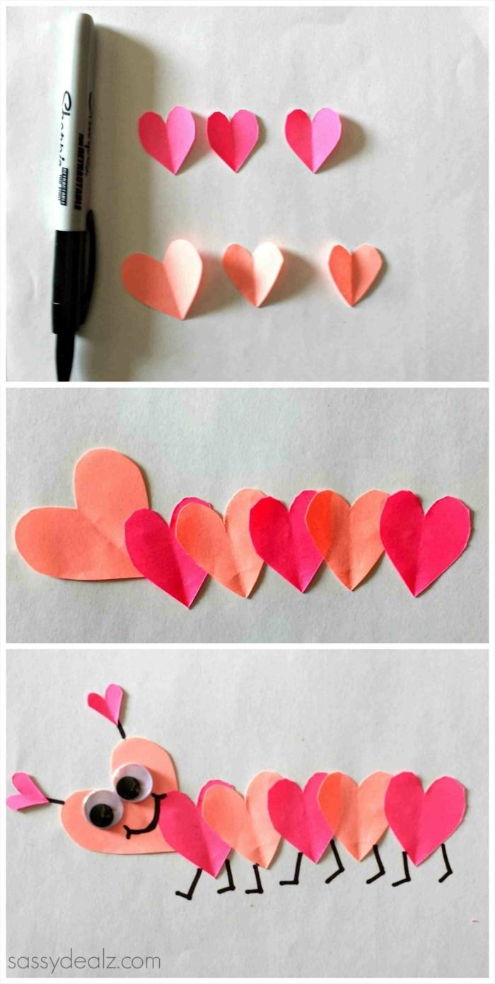 regalos San Valentín, manualidades faciles con papel, animal hecho de pequeños corazones de papel, sorpresas para tu pareja con detalles románticos