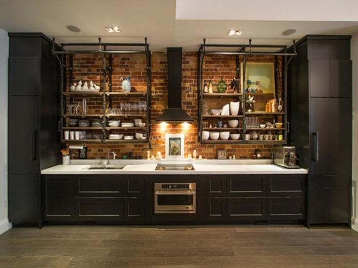 propuestas para amueblar una cocina moderna, ideas para optimizar el espacio, decoración en estilo industrial