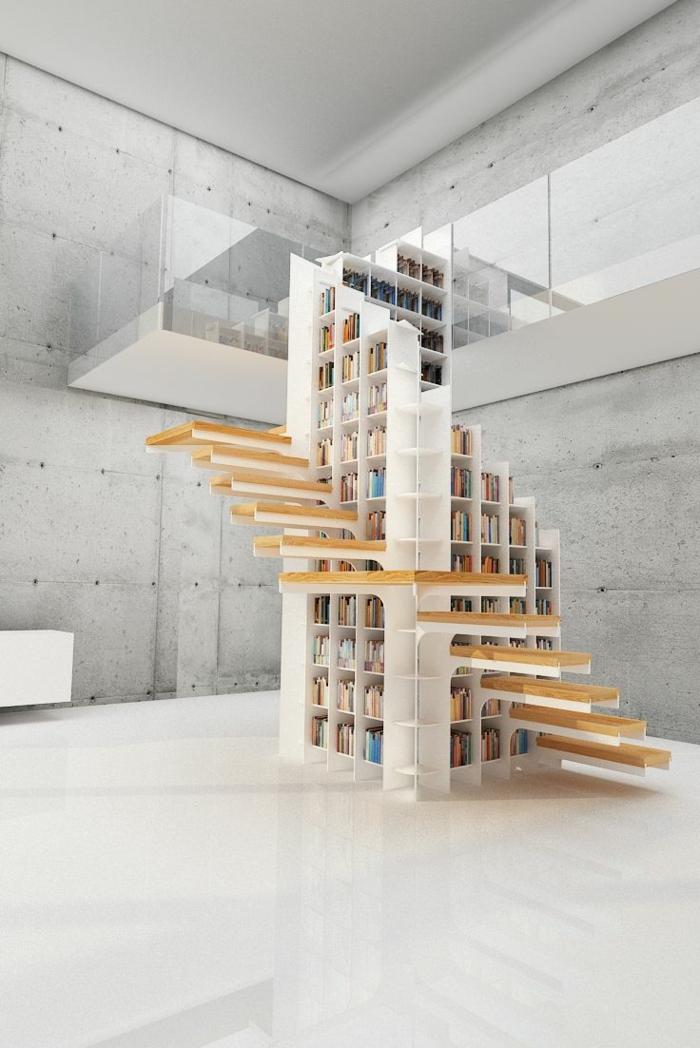 estanterias de madera, diseño moderno, escaleras sin barandilla, librería blanca, espacio grande, suelo laminado