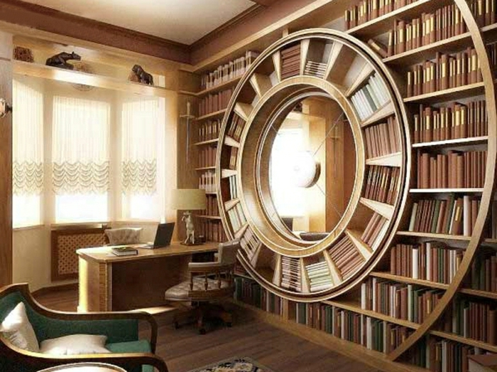 estanterias originales, despacho con librería espiral, separador de ambientes, ventana grande con cortinas, sillón tapizado en verde, libros de la misma colección