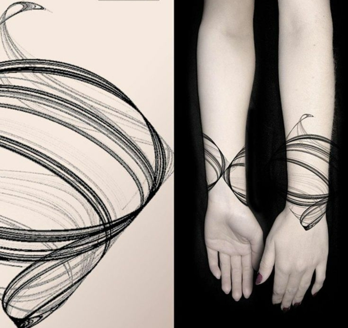 tatuajes originales, tattoo de diseño moderno, espiral negra como brazalete con sombras, tatuaje para mujer, uñas con manicura