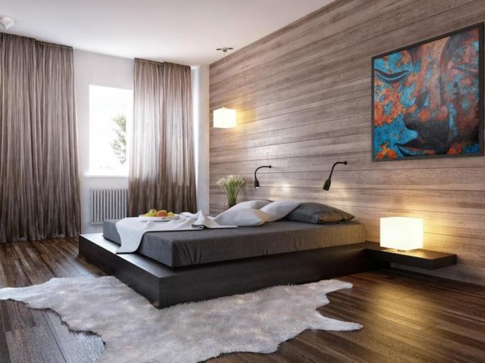 grande cuadro impresionista en colores, habitación decorada en tonos terrosos, cama doble moderna, ideas cuadros vintage