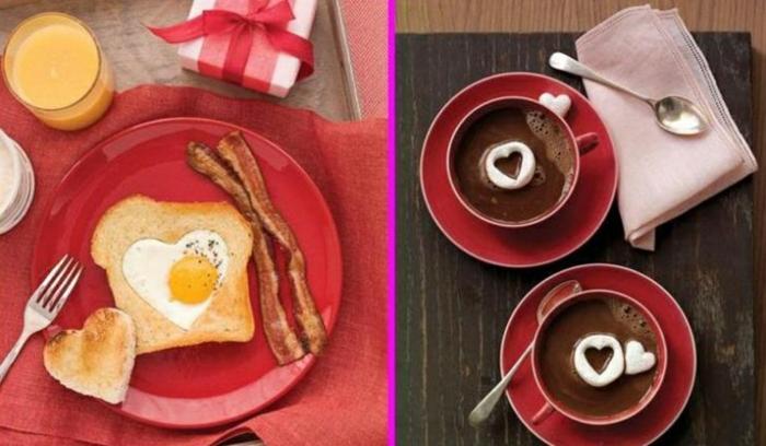 dos propuestas para sorpresas con desayuno, sorpresas para tu pareja originales, mixto con huevo en forma de corazón