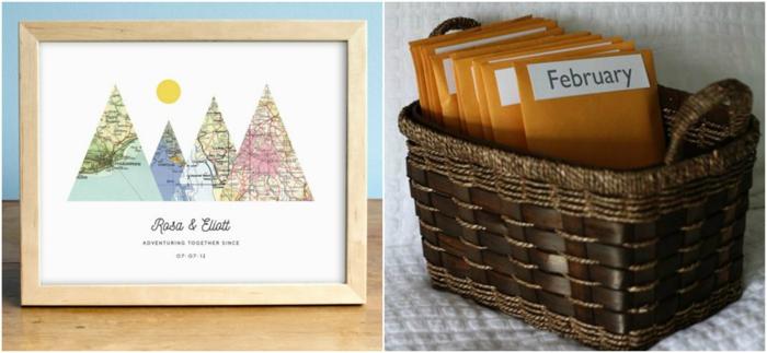 ideas de regalos personalizados para san valentin, regalos originales para novios, mapa romántica en marco de madera, ideas de citas y aventuras para cada mes del año